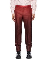 Alexander McQueen Pink Burgundy Dip Dye Printed Cigarette Trousers