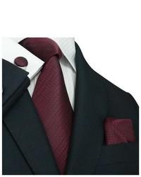 TheDapperTie Burgundy Doted Silk Tie Set 16m