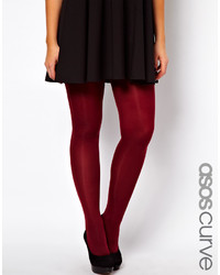 Asos Curve 80 Denier Burgundy Tights