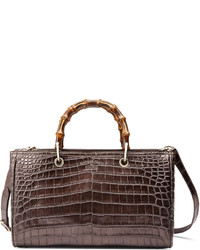 Gucci Bamboo Shopper Crocodile Tote