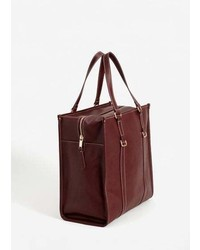 Mango Contrast Seam Shopper Bag
