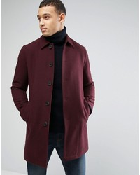 Asos Wool Mix Trench Coat In Burgundy