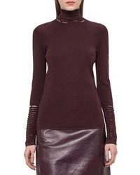 Akris Slash Detail Turtleneck Sweater Aubergine