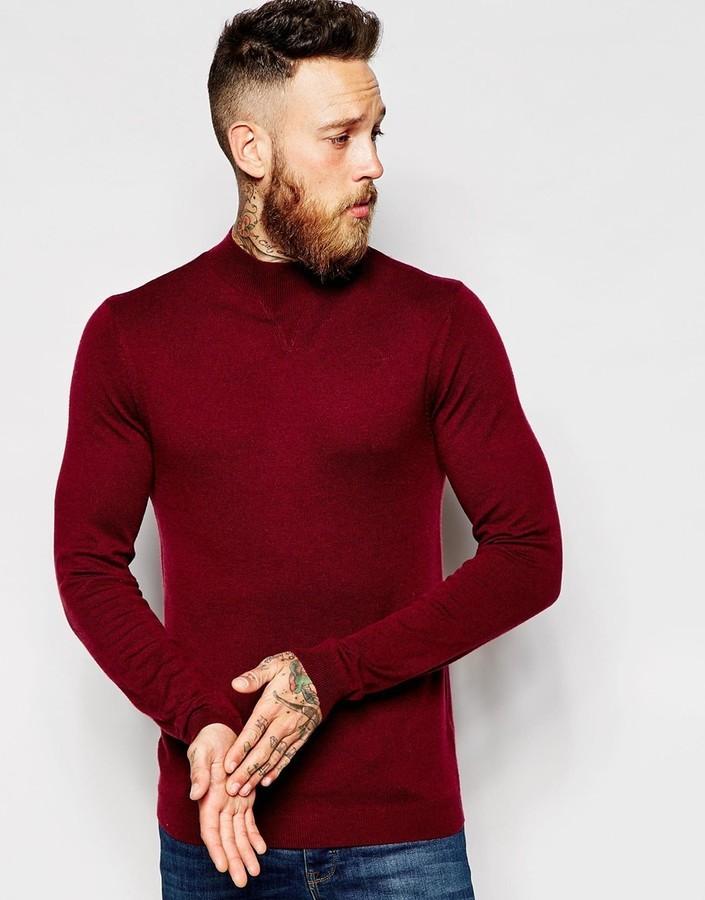 09e995cb40041 ... Asos Brand Turtleneck Sweater In Merino Wool Mix ...