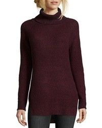 Wyatt Burgundy Cotton Blend Open Knit Raglan Sleeve Turtleneck Sweater