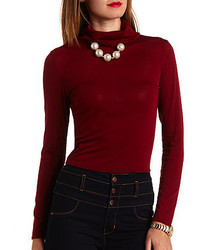 Charlotte Russe Ribbed Long Sleeve Turtleneck Top