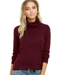LuLu*s Comin Up Cozy Burgundy Turtleneck Sweater
