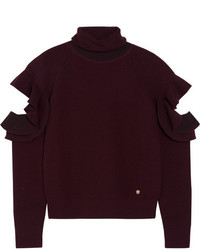 Versace Cutout Ribbed Wool Blend Turtleneck Sweater Burgundy