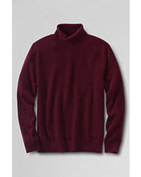 Lands' End Landsend Fine Gauge Cashmere Turtleneck Sweater Ivory Placed Stripexl