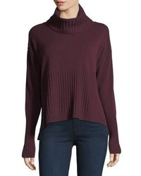 Derek Lam 10 Crosby Long Sleeve Cashmere Turtleneck Sweater W Rib Detail