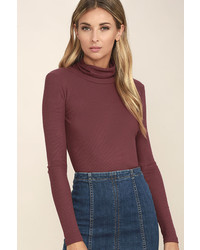 LuLu*s Cozy Den Washed Burgundy Turtleneck Top