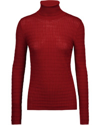 M Missoni Crochet Knit Wool Blend Turtleneck Sweater
