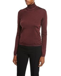 Bottega Veneta Silk Blend Contrast Trim Turtleneck Top