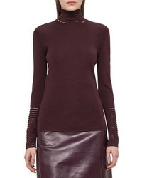Akris Slash Detail Turtleneck Sweater Aubergine