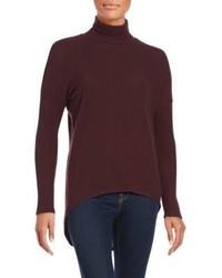 Red Haute Solid Hi Lo Turtleneck Sweater