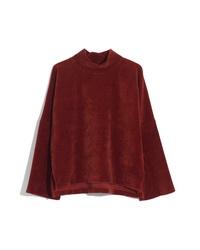 Madewell Texture Thread Velour Corduroy Mock Neck Top