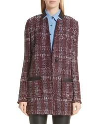 St. John Collection Flecked Textures Plaid Knit Jacket