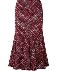 Alexander McQueen Frayed Tweed Midi Skirt