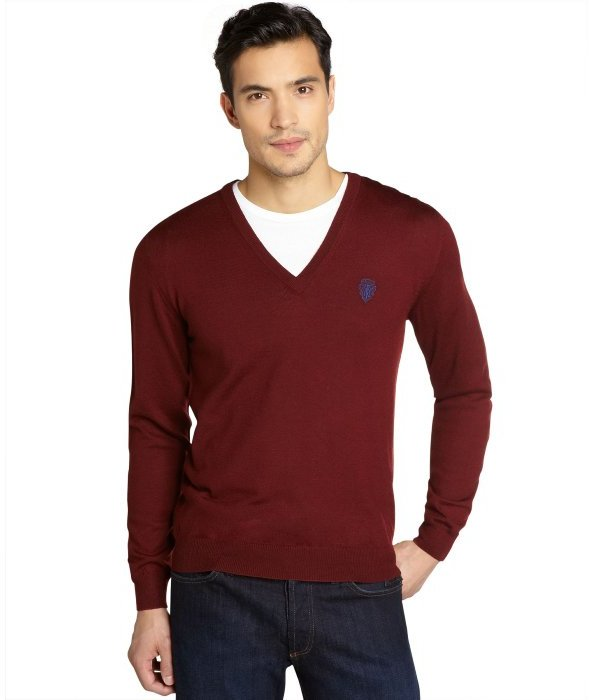 Gucci Burgundy Wool Long Sleeved V Neck Sweater | Where to buy ...