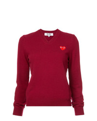 Comme Des Garcons Play Comme Des Garons Play V Neck Heart Embroidered Sweater