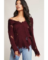 Forever 21 Distressed Frayed Trim Sweater