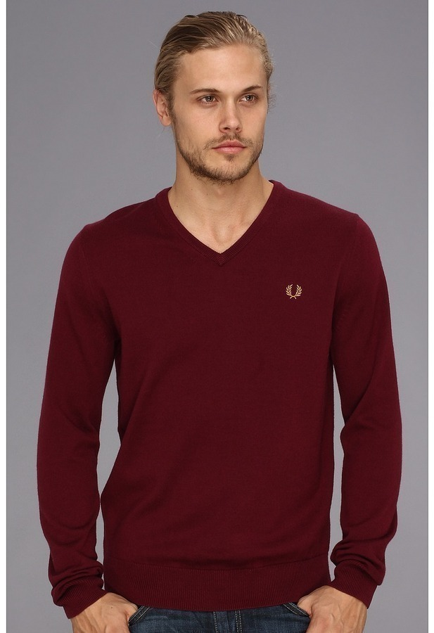fred perry classic tipped v neck sweater where to buy how to wear. Black Bedroom Furniture Sets. Home Design Ideas
