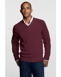 Lands' End Performance Drifter V Neck Pullover Classic Navy