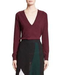 Proenza Schouler Plunging V Neck Merino Wool Sweater