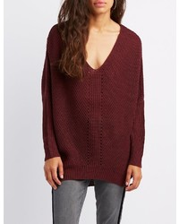 Charlotte Russe Shaker Stitch Pullover Sweater