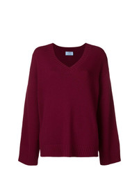 Prada Slouchy V Neck Sweater