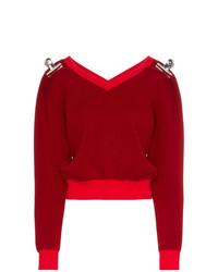 Shushu/Tong V Neck Clip Embellished Wool Cashmere Blend Jumper