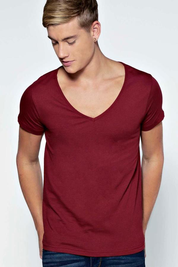 07547e726222 Boohoo Basic Deep V Neck T Shirt, $7   BooHoo   Lookastic.com
