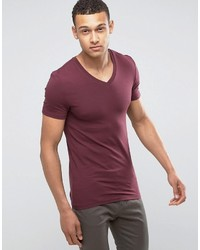 Asos Extreme Muscle Fit T Shirt With V Neck And Stretch In Red d32e26c72e49