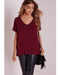 Missguided Petite Boyfriend V Neck T Shirt Burgundy