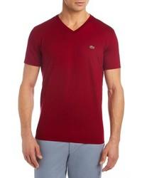 Lacoste V Neck Cotton T Shirt