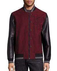 True Religion Collegiate Moleskin Leather Blend Varsity Jacket