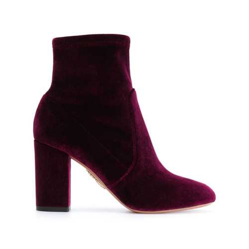 official images best loved competitive price $429, Aquazzura Brooklyn Velvet Ankle Boots
