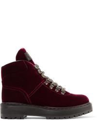 Prada Leather Trimmed Velvet Ankle Boots Burgundy