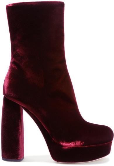 Miu Miu Leather Trimmed Velvet Ankle