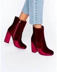 Boohoo Velvet Heeled Ankle Boot