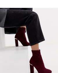 ASOS DESIGN Wide Fit Elsa Sock Boots In Burgundy