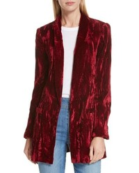 Alice + Olivia Kylie Crushed Velvet Shawl Collar Blazer