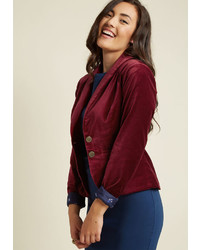 Modcloth Velvet Executive Blazer In Maroon In 2x
