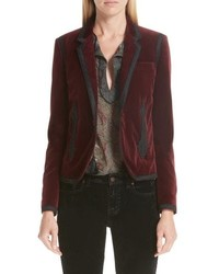 Saint Laurent One Button Velvet Blazer