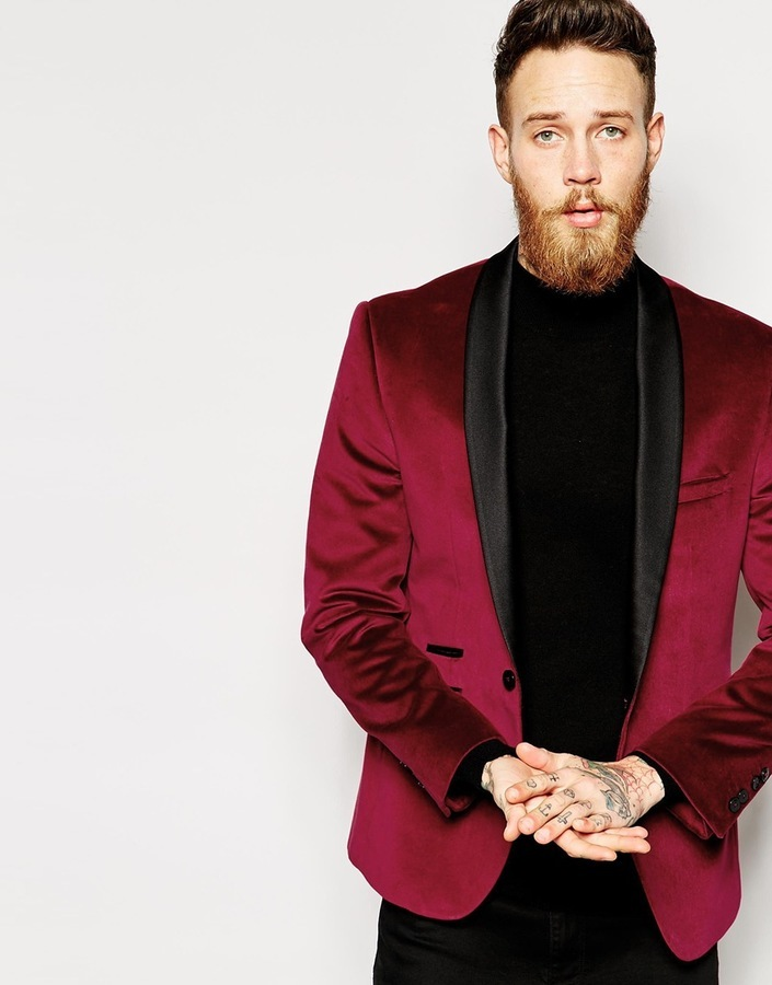 Mens Red Velvet Blazer Jacket - popular blazer 2017
