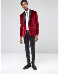 Asos Skinny Velvet Blazer In Burgundy | Where to buy & how to wear
