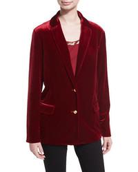 Joan Vass Stretch Velvet Two Button Blazer