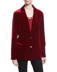 Joan Vass Stretch Velvet Two Button Blazer Plus Size