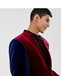 Collusion Velvet Blazer In Burgundy With Contrast Sleeves