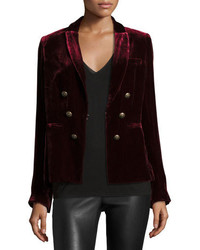 Veronica Beard Velvet Faux Double Breasted Blazer Wine